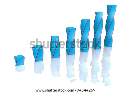business chart is reflected on the white. - stock photo