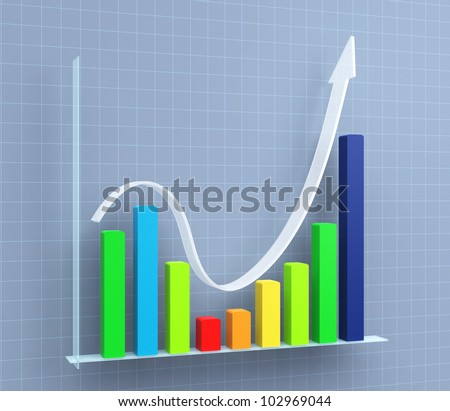 business chart of growth - stock photo