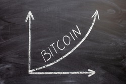 Business chart on a chalkboard showing the growth of bitcoin