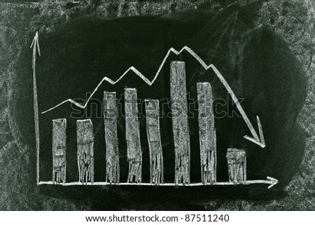 Business chart on blackboard showing crisis chart