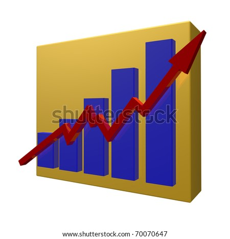 business chart on white background - 3d illustration