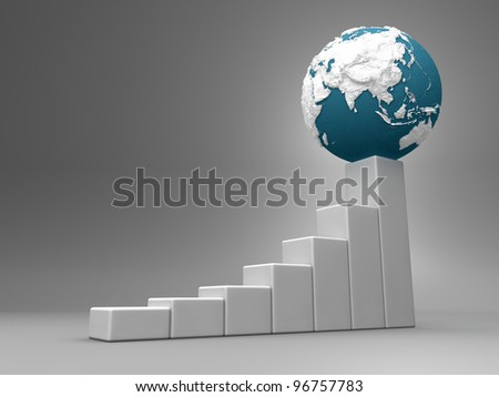 Business chart with earth model, asia and australia, 3d render - stock photo