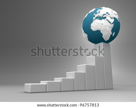 Business chart with earth model, europe and africa, 3d render