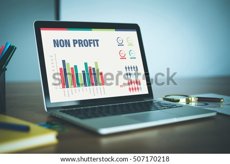 Business Charts and Graphs on screen with NON PROFIT title