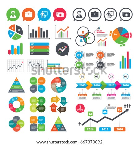 Business charts. Growth graph. Businessman icons. Human silhouette and cash money signs. Case and presentation symbols. Market report presentation.