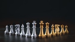 Business chess board game of business strategy and tactic on retro wooden table, idea for management competition, success and leadership concept with copy space for your advertising content.