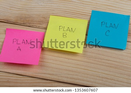 Business choice - Plan a, plan b or plan c on colorful office stickers on wooden desk