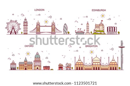 Business city in England. Detailed architecture of London, Edinburgh, Oxford, Brighton. Trendy illustration, line art style.