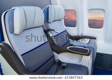 Business class reclined seats of airplane #613847363