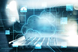Business cloud computing: digital screen with application cloud service icons and blurry laptop at background