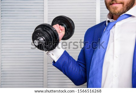 Business coach. Put more effort. Man raise heavy dumbbell. Boss businessman manager raise hand with dumbbell close up. Successful business. Strong powerful business strategy. Efforts always rewarding.