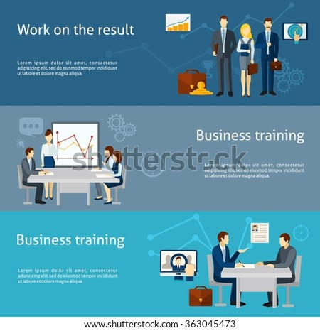 Business coaching investment flat banners set
