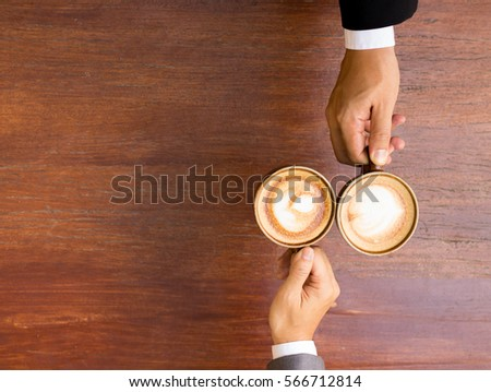 business coffee meeting, cheers the cup of coffee