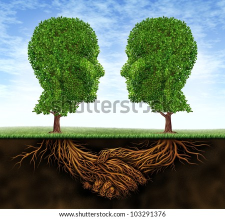 Business collaboration teamwork and growth with roots in the shape of a hand shake and trees as human heads for trust and integrity in a growing financial relationship for strong wealth success. - stock photo