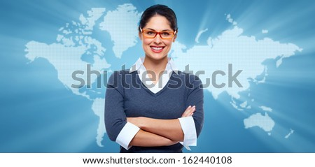Business collage background. Business woman banner with map.