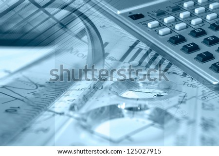 Business collage in blues with magnifier, ruler and graph.