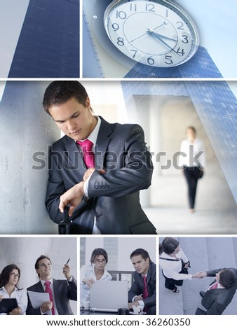 Business collage made of some pictures showing a short story about business dating