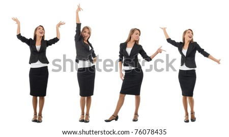 Business collage of a young and successful business woman in different perspectives. Isolated on white background.