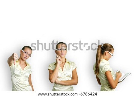 business collage of a young and successful woman in some business situations - stock photo