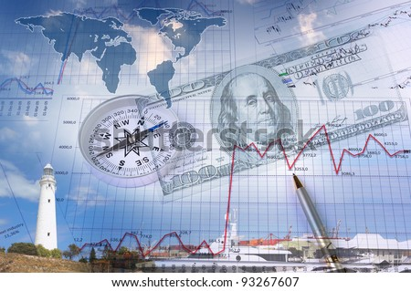 Business collage with financial charts and lighthouse on the background