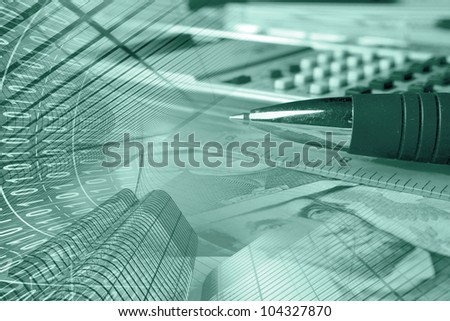 Business collage with money, ruler, pen and calculator, in greens.