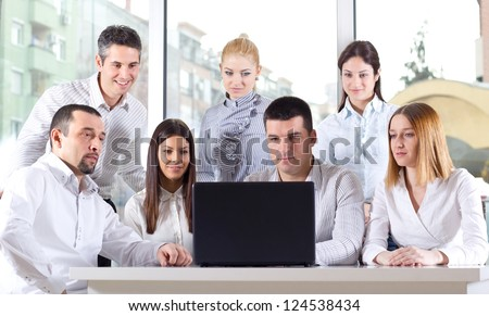 Business colleagues discussing during a meeting - stock photo