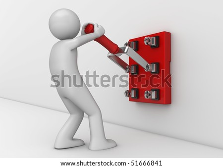 Business collection - Electrician with knife switch - stock photo