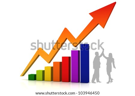 Business Color Chart with Arrow to Higher and Human worker