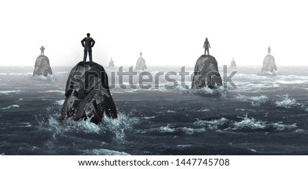 Business communication challenge with businessmen and businesswomen with huge gaps as a corporate symbol for negotiation problems as businesspeople lost on distant islands in a 3D illustration style.