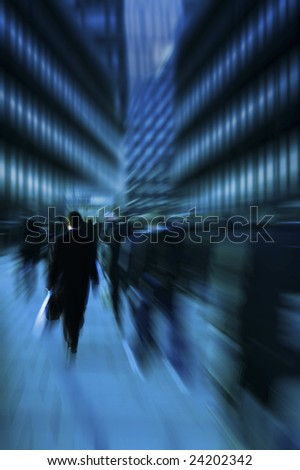 business commuters in the rush hour with motion blur effect
