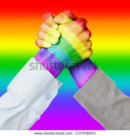 Business competition or fight, rainbow flag pattern