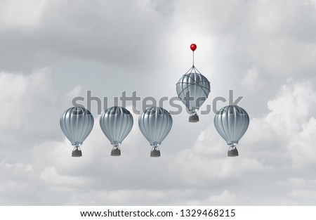 Business competitive advantage success and corporate edge concept as a group of hot air balloons racing to the top but an individual leader winning the competition as a 3D illustration.