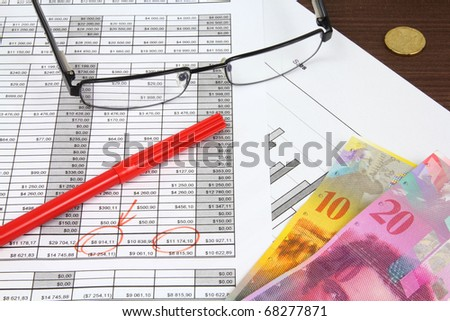 Business composition. Financial analysis - income statement, red marker, glasses and Swiss frank money.