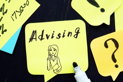 Business concept about Advising with inscription on the page.