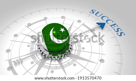 Business concept. Abstract compass points to the success word. Flag of Pakistan. 3D rendering ストックフォト ©