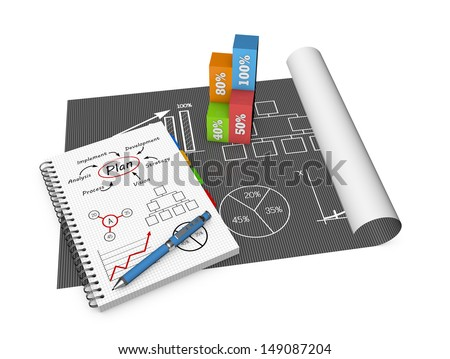 Business concept and graphs drawing on notebook