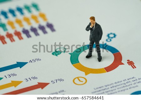 business concept as miniature people businessman thinking and standing at the center of analysis infographic circle chart paper. #657584641