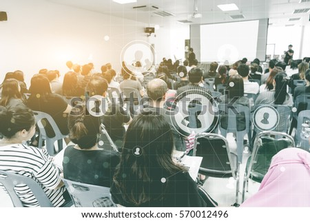 Business concept : asia people listen in business seminar presentation hall of hotel room with social network connection icon symbol ,selective focus. #570012496