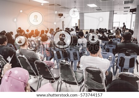Business concept : asia people listen in business seminar presentation hall of hotel room with social network connection icon symbol ,selective focus.  #573744157