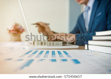 business concept blurred background. young businessman crew working with new start up project in office.