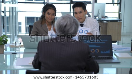 Business concept. Businessmen are trading in the office. #1465731683