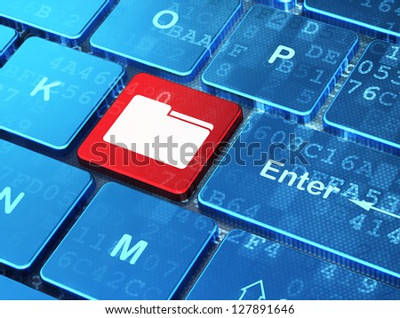 Business concept: computer keyboard with Folder icon on enter button, 3d render