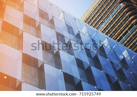 Business concept - corporate shapes of a corporate building in Madrid; #715925749