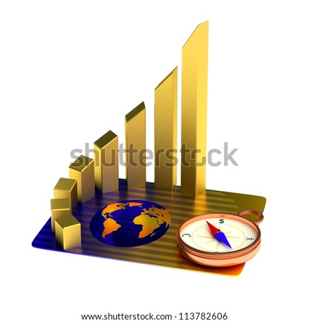 Business concept: credit card, gold chart, compass
