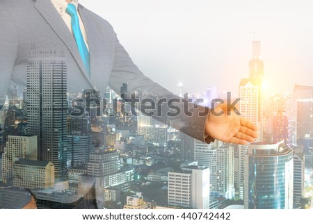 Business concept, double exposure of businessman with city #440742442