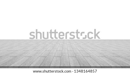 Business concept - empty stone floor top isolated on white background for display or mockup product Foto stock ©