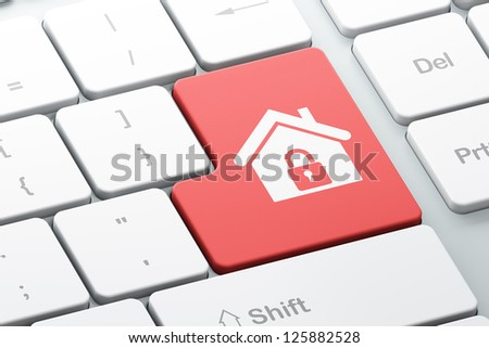 Business concept: Enter button with Home on computer keyboard, 3d render