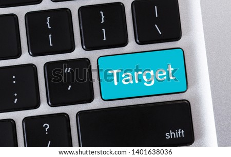 2751120f204 Business concept for market segmentation audience. Target word on blue  button of computer keypad #