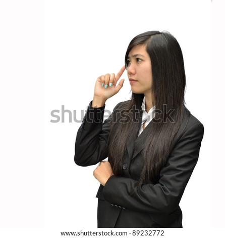 Business concept from business woman on white background. - stock photo