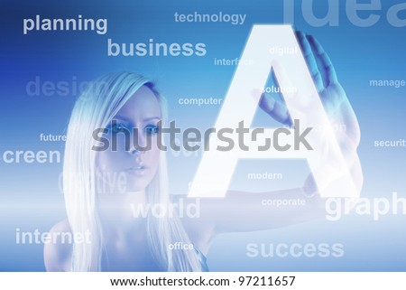 Business concept - girl with screen